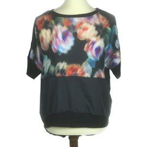 Zara Blurred Flowers Printed Black Top